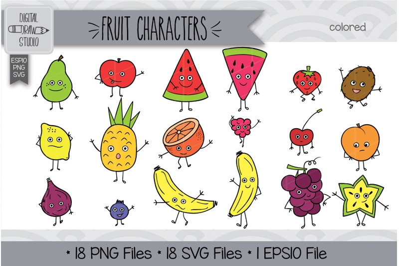 72-fruit-characters-doodles-hand-drawn-illustrations-bundle
