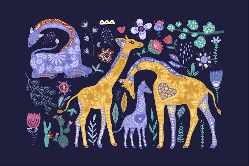 magic-giraffes-folk-art-graphic-set