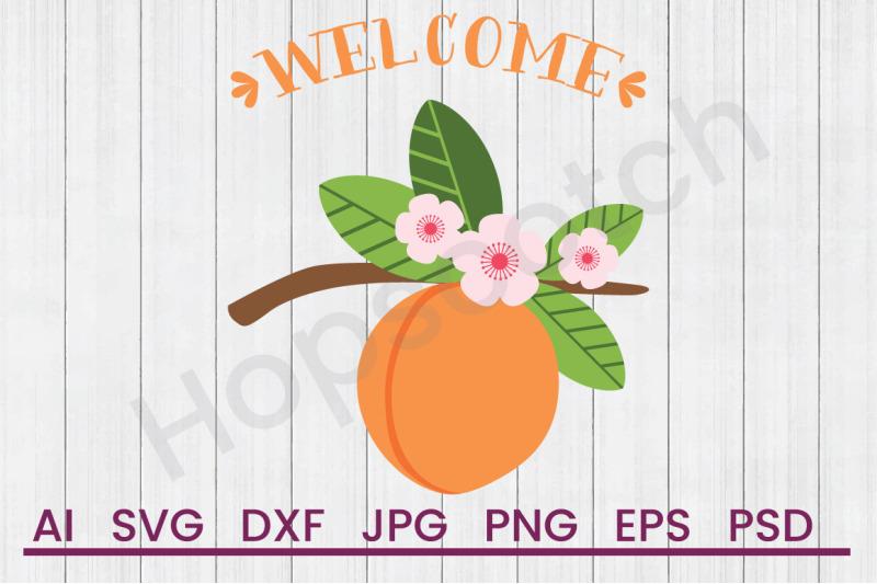 welcome-peach-svg-file-dxf-file