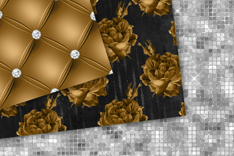 copper-and-silver-floral-digital-paper