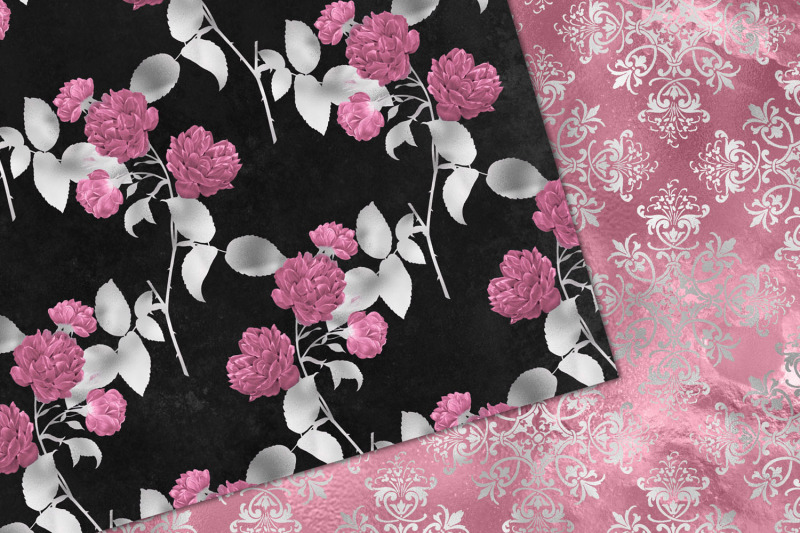 pink-and-silver-floral-digital-paper