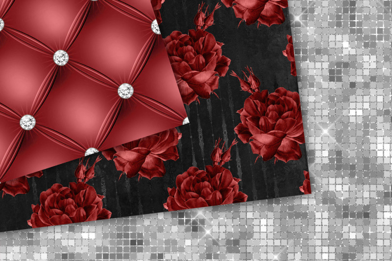 red-and-silver-floral-digital-paper