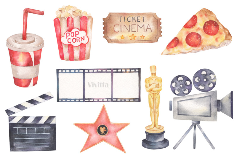 cinema-movie-pizza-watercolor-clipart-collection