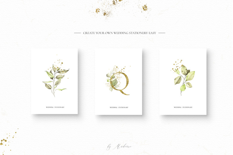 watercolor-silver-gold-and-green-leaves-set