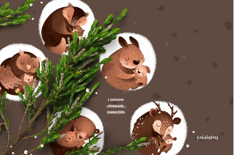 mother-and-baby-woodland-animals