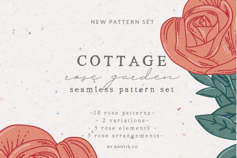 cottage-rose-garden-pattern-set