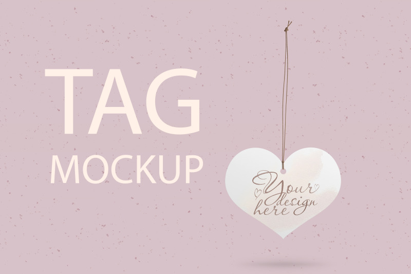 Free Heart Wedding Tag Mockup (PSD Mockups)