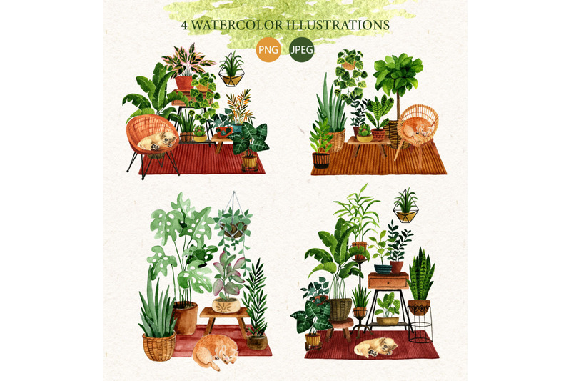 houseplants-watercolor-set