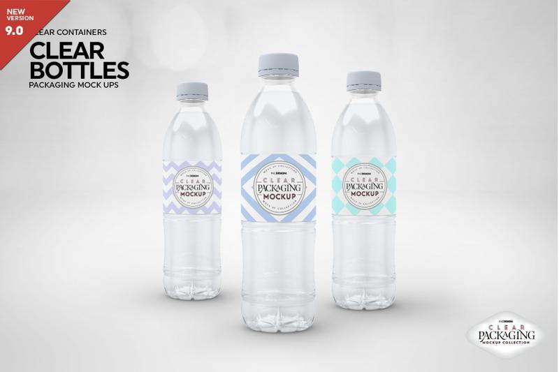 Free Clear Water Bottles Packaging Mockup (PSD Mockups)