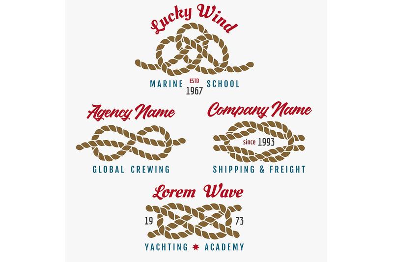 nautical-rope-knot-emblem-set