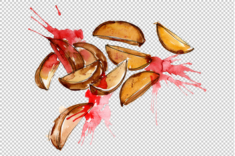 french-fries-with-sauce-on-ukrainian-watercolor-png