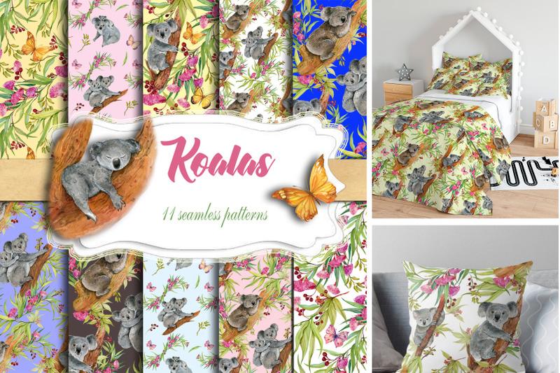 cute-koalas-seamless-patterns