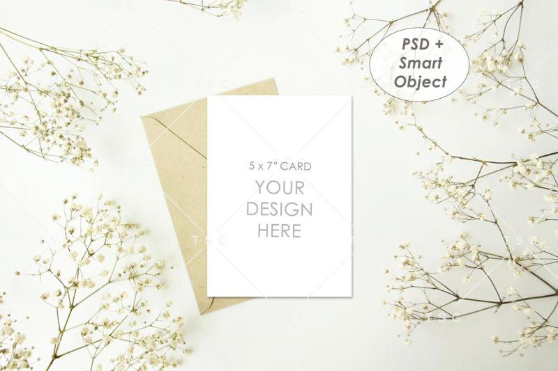 Free 5 x 7 Card Mockup /Wedding Invitation Card / Save The Date Card (PSD Mockups)