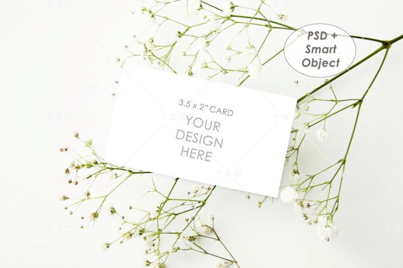 Free Place Card Mockup / Name Card Mockup / 3.5 x 2 Card Mockup (PSD Mockups)