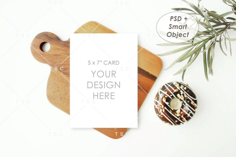 Free 5 x 7 Card Mockup / Recipe Card Mockup / Kitchen Card (PSD Mockups)