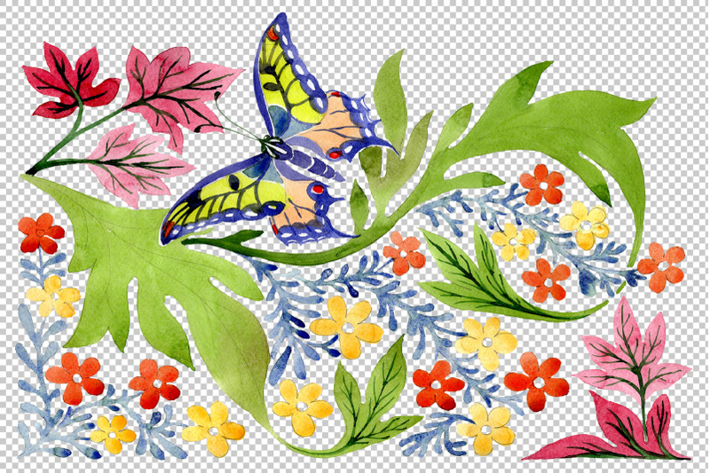 european-floral-ornament-watercolor-png