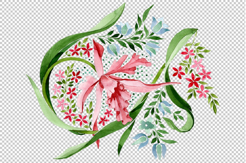 pink-floral-ornament-watercolor-png