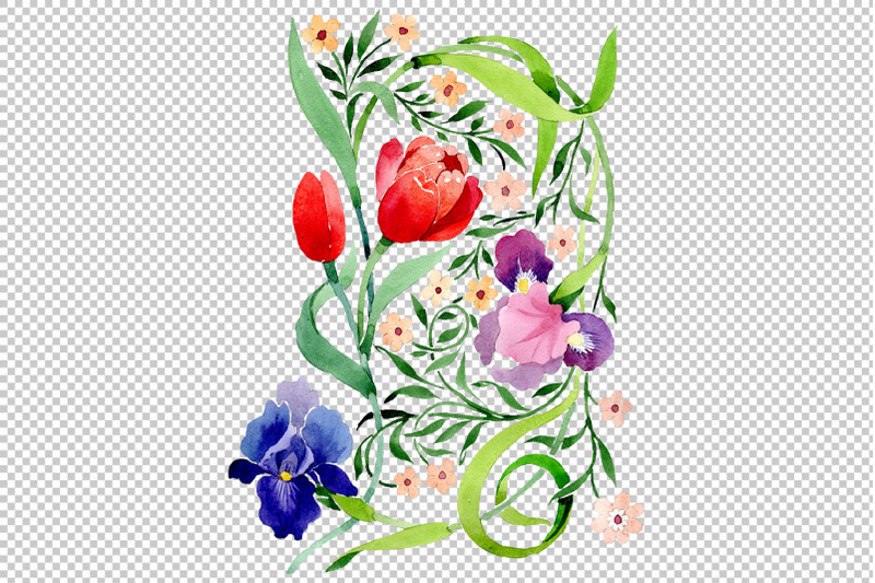 ornament-with-irises-and-tulips-watercolor-png