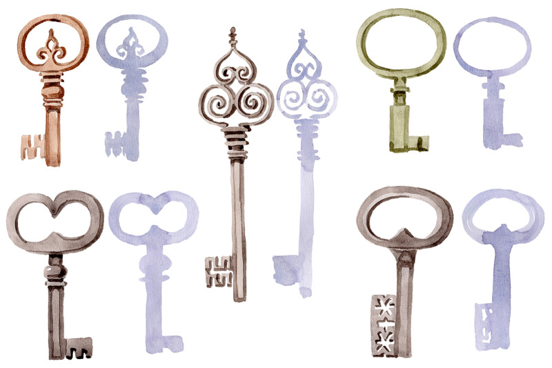 old-golden-key-watercolor-png
