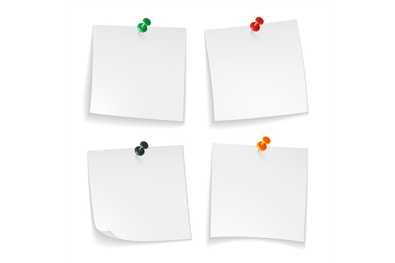 pin-notes-white-note-papers-curled-corner-with-pinned-colored-push-bu