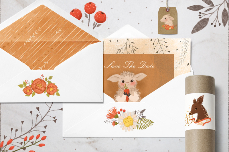 cute-animals-and-floral-elements