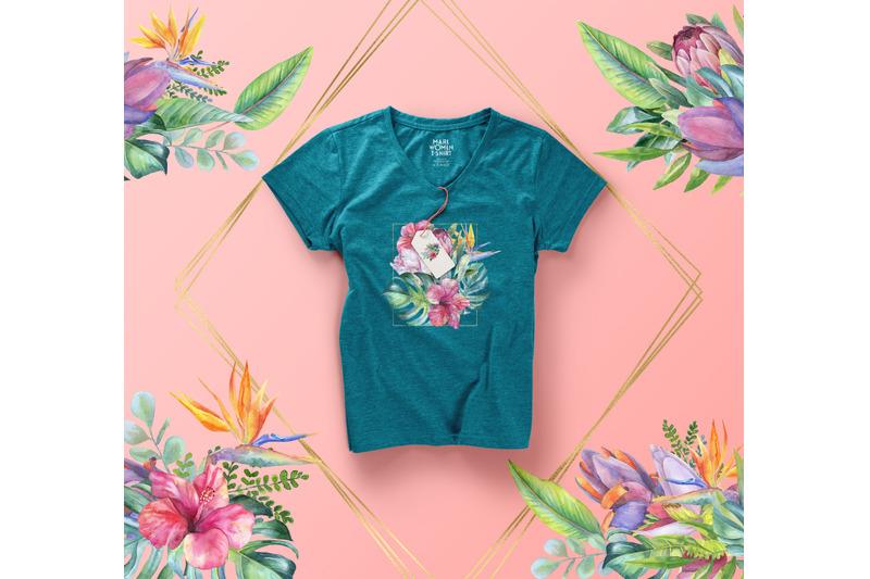watercolor-tropical-clip-art-floral-border-clipart-exotic-flower