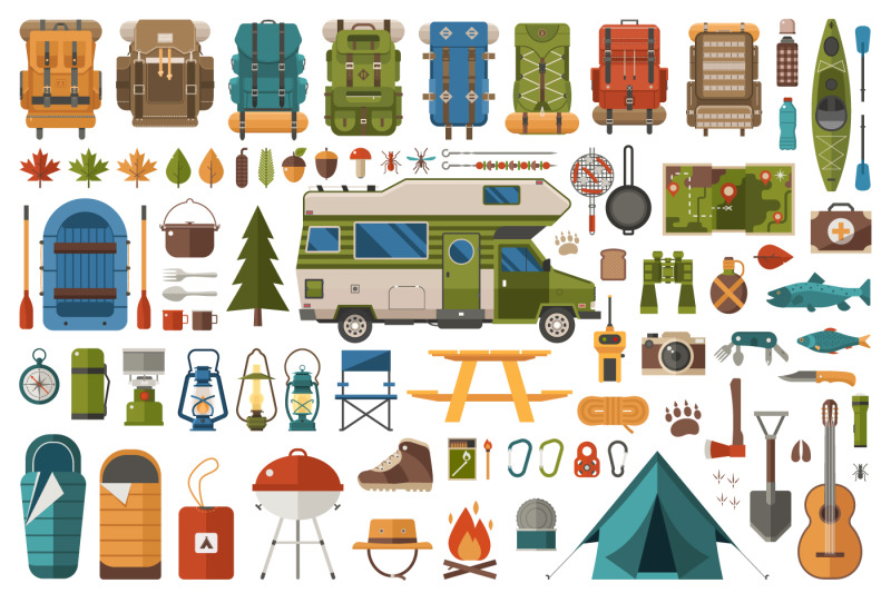 camping-and-hiking-design-elements
