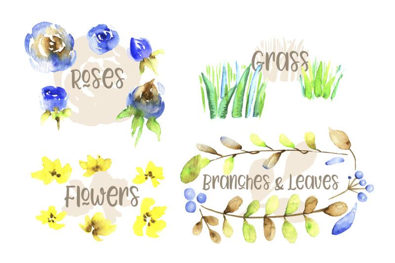 watercolor-farm-birds-and-plants-set