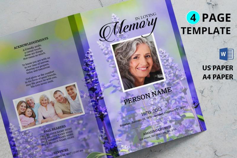 levendar-funeral-program-template