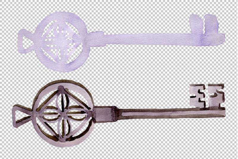 vintage-key-magic-watercolor-png
