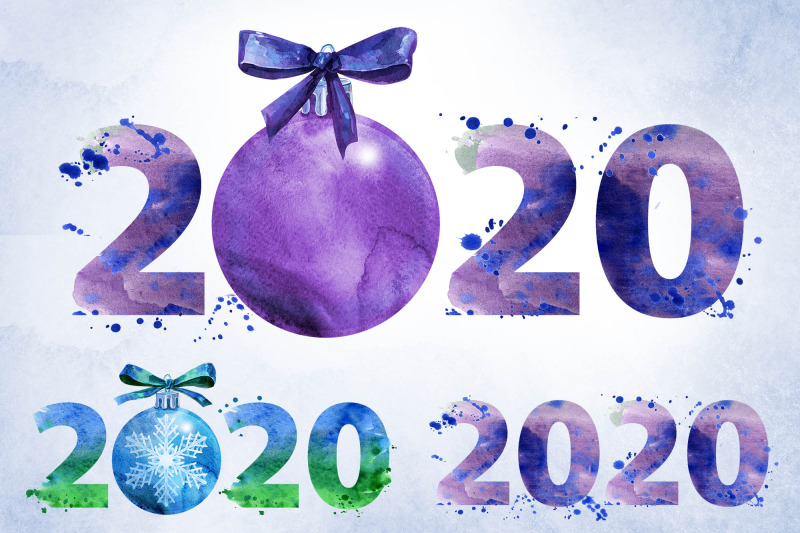 New year 2020 watercolor By Watercolor fantasies ...