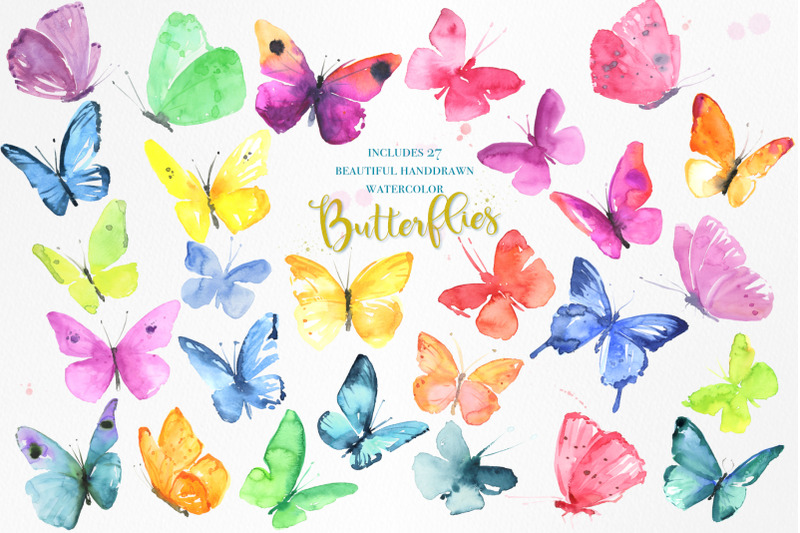 watercolor-butterflies-set
