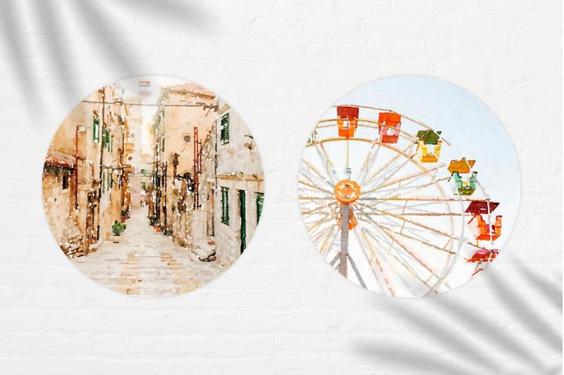 summer-mood-watercolor-circle-set