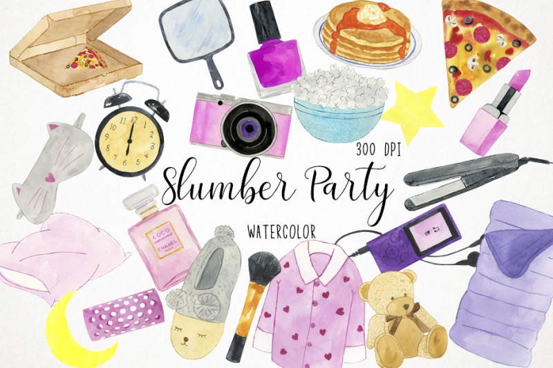 watercolor-slumber-party-clipart-slumber-party-illustration