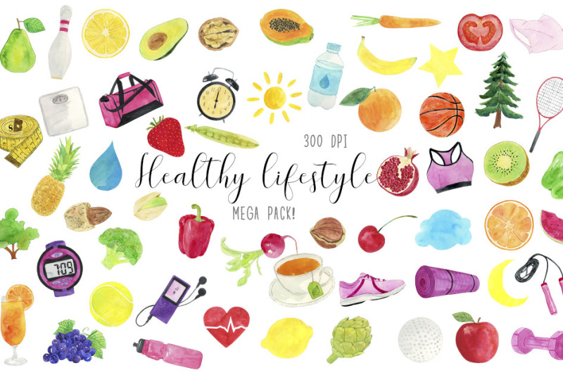 watercolor-healthy-lifestyle-clipart-healthy-lifestyle-illustration