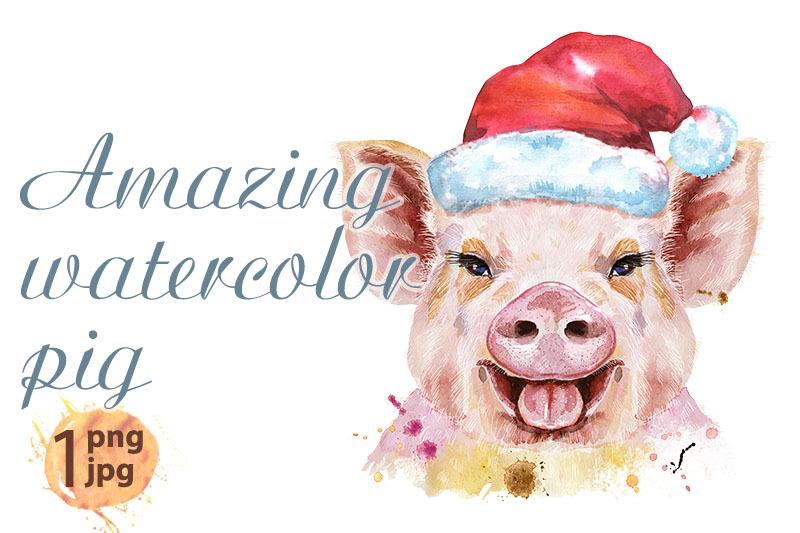 watercolor-portrait-of-pig-in-santa-hat
