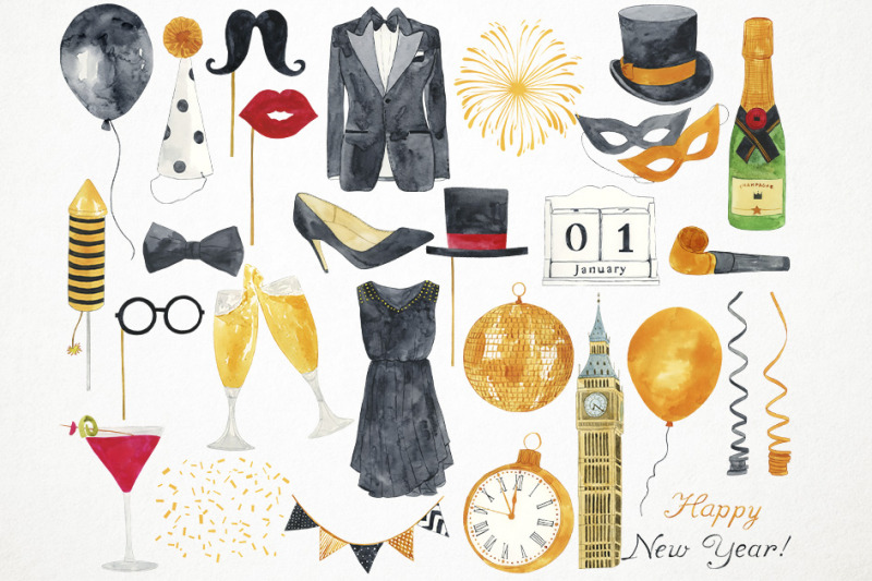 watercolor-happy-new-year-clipart-new-year-illustration