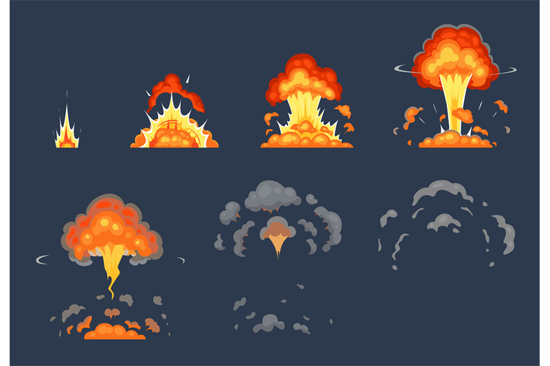 Cartoon bomb explosion animation. Exploding animated ...