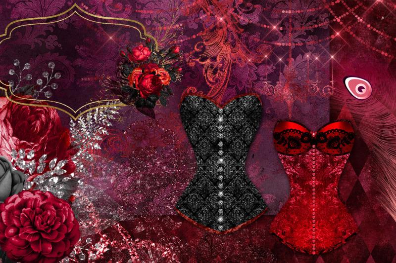 red-masquerade-digital-scrapbook-kit