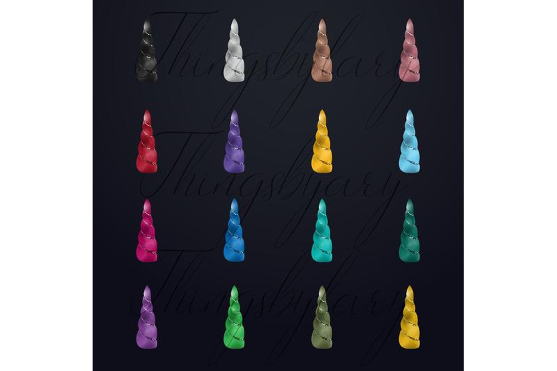 100-foil-glitter-fantasy-magical-unicorn-horn-clip-arts-png