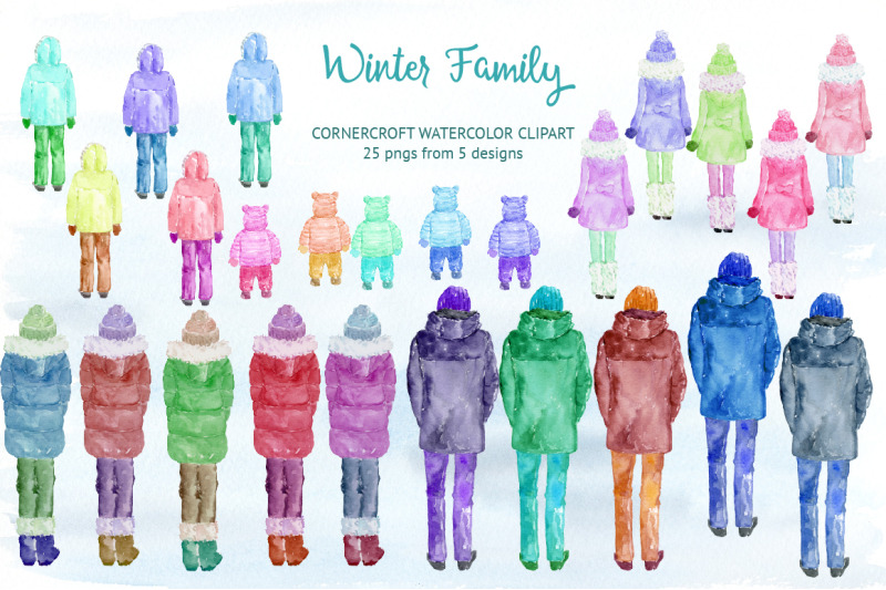 watercolor-winter-family-for-instant-downloadwatercolor-winter-family