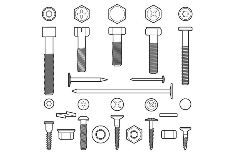 metal-fasteners-line-icons-set