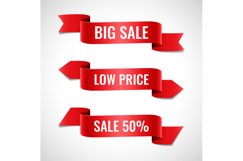 red-ribbons-sale-banners-set