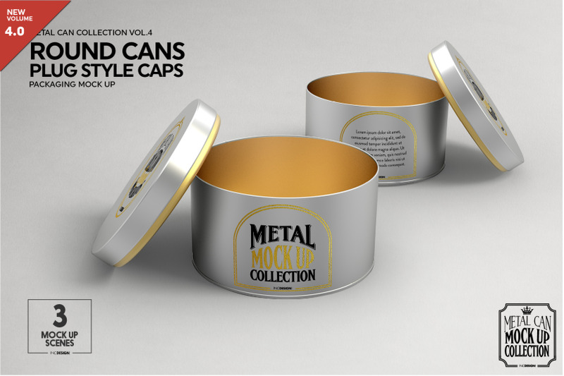Free Round Cans with Plug Style Metal Cap Packaging Mockup (PSD Mockups)