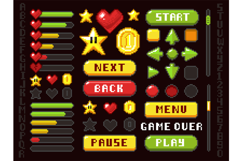 pixel-game-buttons-navigation-and-notation-elements-and-symbols-vecto