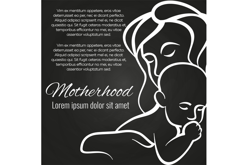 motherhood-chalkboard-poster-with-baby-and-mother-silhouette