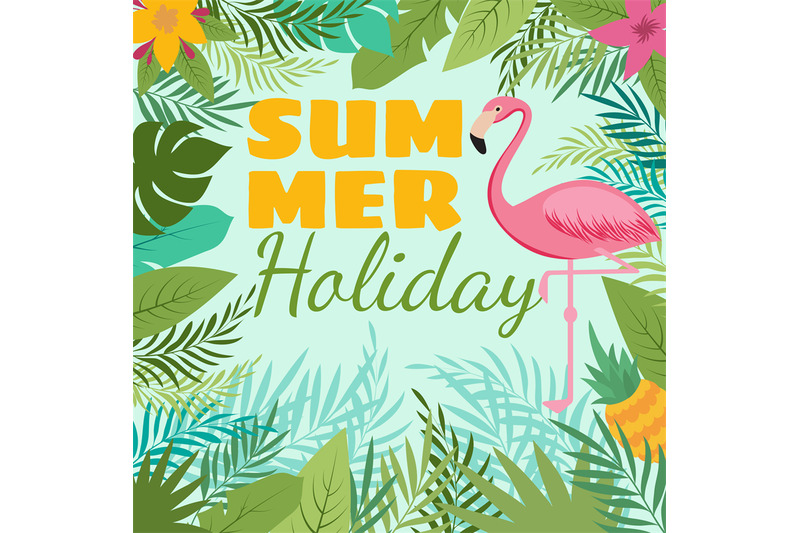 modern-summer-vector-background-with-flamingo-and-tropic-plant-decorat