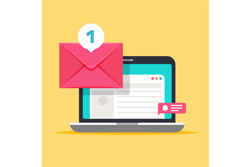 message-on-computer-screen-mailing-vector-concept-with-envelope-and-l