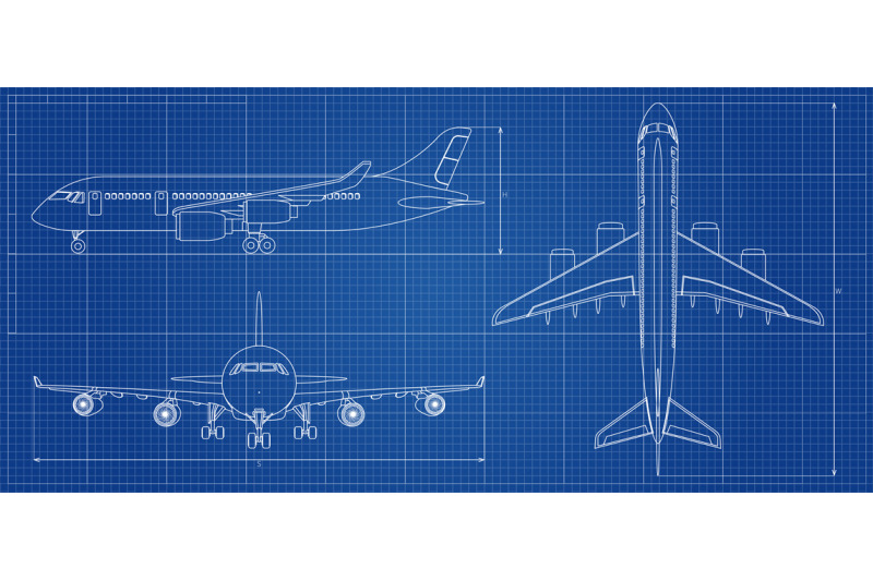 airplane-blueprint-outline-aircraft-on-blue-background-vector-illust