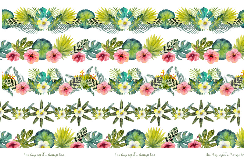 tropical-leaves-repetition-of-summer-horizontal-border